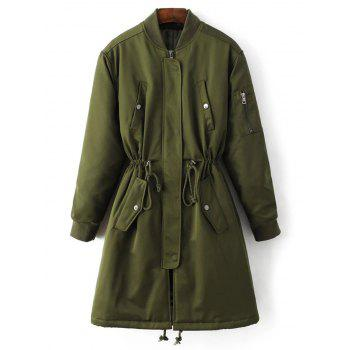 Skirted Drawstring Utility Coat - ARMY GREEN S