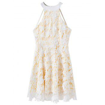 Floral Applique Backless Lace Dress - WHITE M
