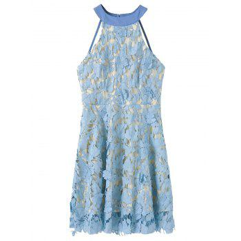 Floral Applique Backless Lace Dress - BLUE BLUE