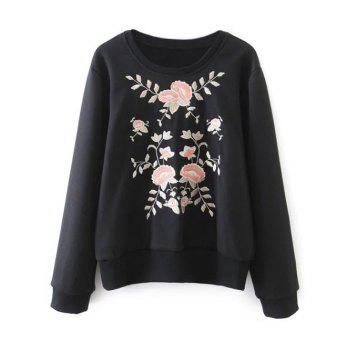 Floral Emroidered Loose Sweatshirt