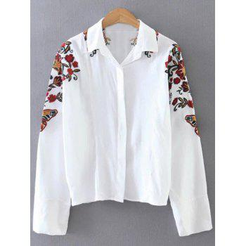 Floral Embroidered Casual Shirt
