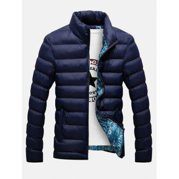 Stand Collar Side Pocket Zippered Padded Jacket