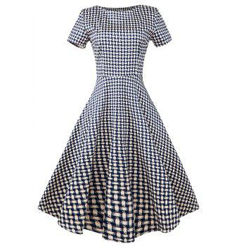 Vintage Slim Fit Plaid Swing Dress