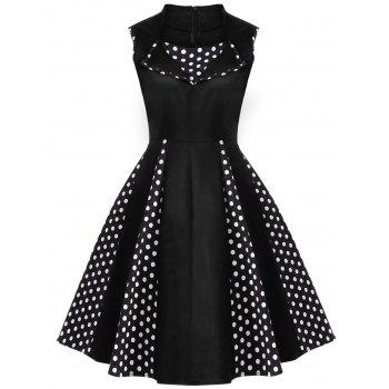 Vintage Polka Dot Sleeveless Knee Length Swing Dress