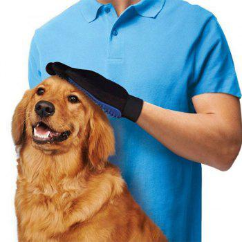 Soft Rubber Brush Washing Groom Massage Pet Dog Glove - BLUE BLUE