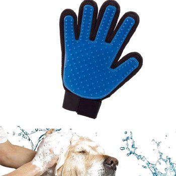 Soft Rubber Brush Washing Groom Massage Pet Dog Glove -  BLUE