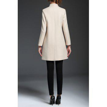 Embroidered V Neck A Line Coat - OFF WHITE XL