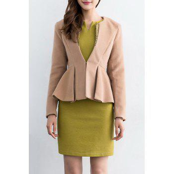 Wool Blend Slim Fit Peplum Blazer