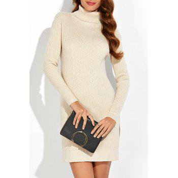 Ribbed Slit Knitted Dress