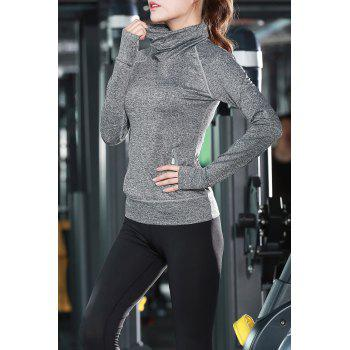 Turtle Neck Long Sleeve Sports Top - GRAY GRAY