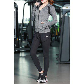 Zip Up Jacket With Bra With Sports Pants - GRAY M