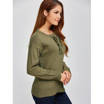 Lace-Up Loose Casual Sweater - ARMY GREEN ARMY GREEN