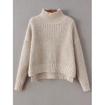 Mock Neck High-Low Chunky Sweater