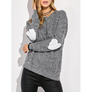 Round Neck Heart Pattern Elbow Patch Sweater