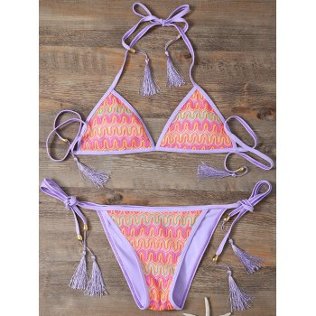 Halter Lace Patch String Bikini Set