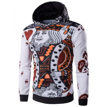 Pullover 3D Poker King Print Hoodie - WHITE M