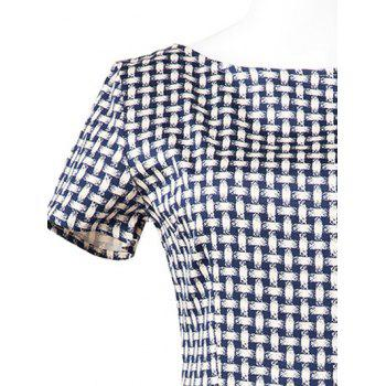 Vintage Slim Fit Plaid Swing Dress - BLUE PLAID XL