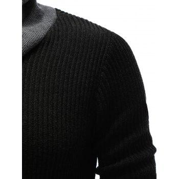 Ribbed Zip Up High Neck Pullover Sweater - BLACK M