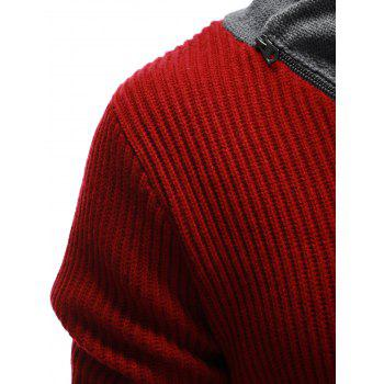 Ribbed Zip Up High Neck Pullover Sweater - BURGUNDY M