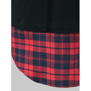 Drawstring Plaid Plus Size Hoodie - RED/BLACK 2XL