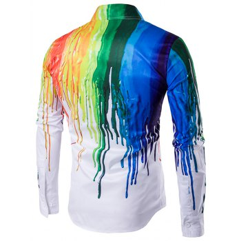 Turndown Collar Colorful Splatter Paint Print Long Sleeve Shirt - WHITE XL