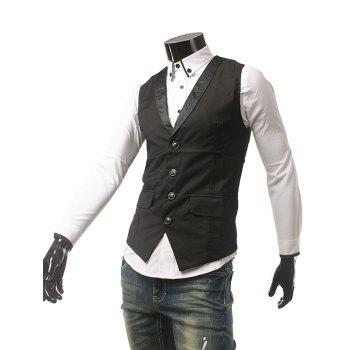 Flap Pocket unique poitrine Buckled Waistcoat - Noir M