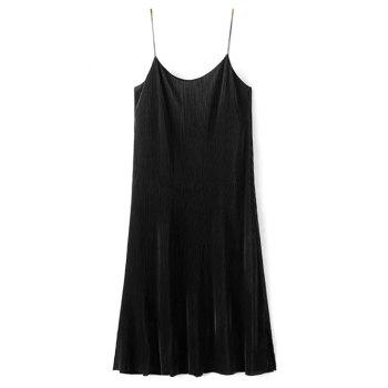 Pleated Cami Knee Length Dress - BLACK S