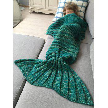 Good Quality Warm Kintted Wrap Mermaid Tail Blanket For Kids - GREEN S