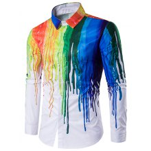 Turndown Collar Colorful Splatter Paint Print Long Sleeve Shirt