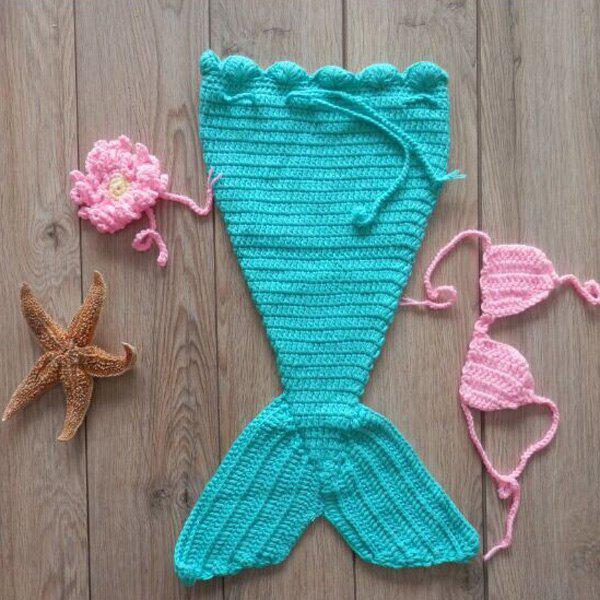 Baby Crochet Mermaid Photography Prop Costume Set newborn baby photography props infant knit crochet costume peacock photo prop costume headband hat clothes set baby shower gift
