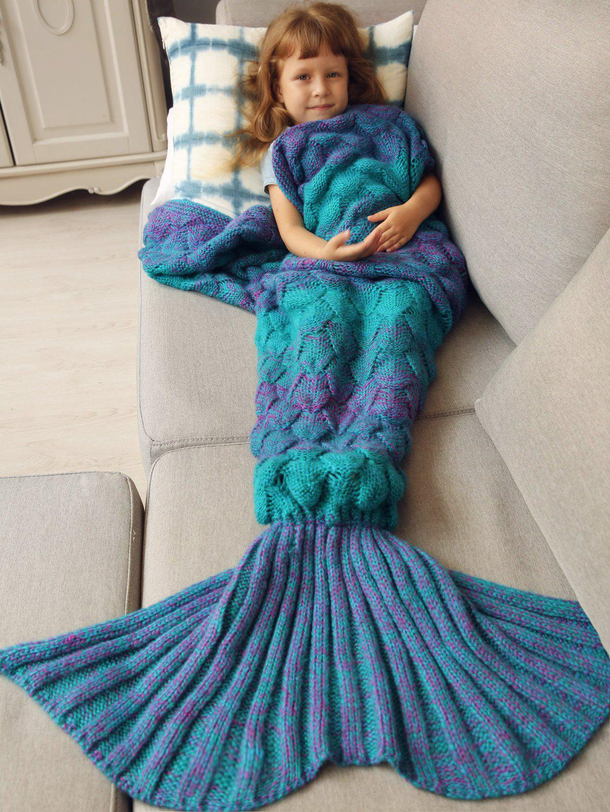Kids Sleeping Bag Knitted Fish Scales Mermaid Blanket