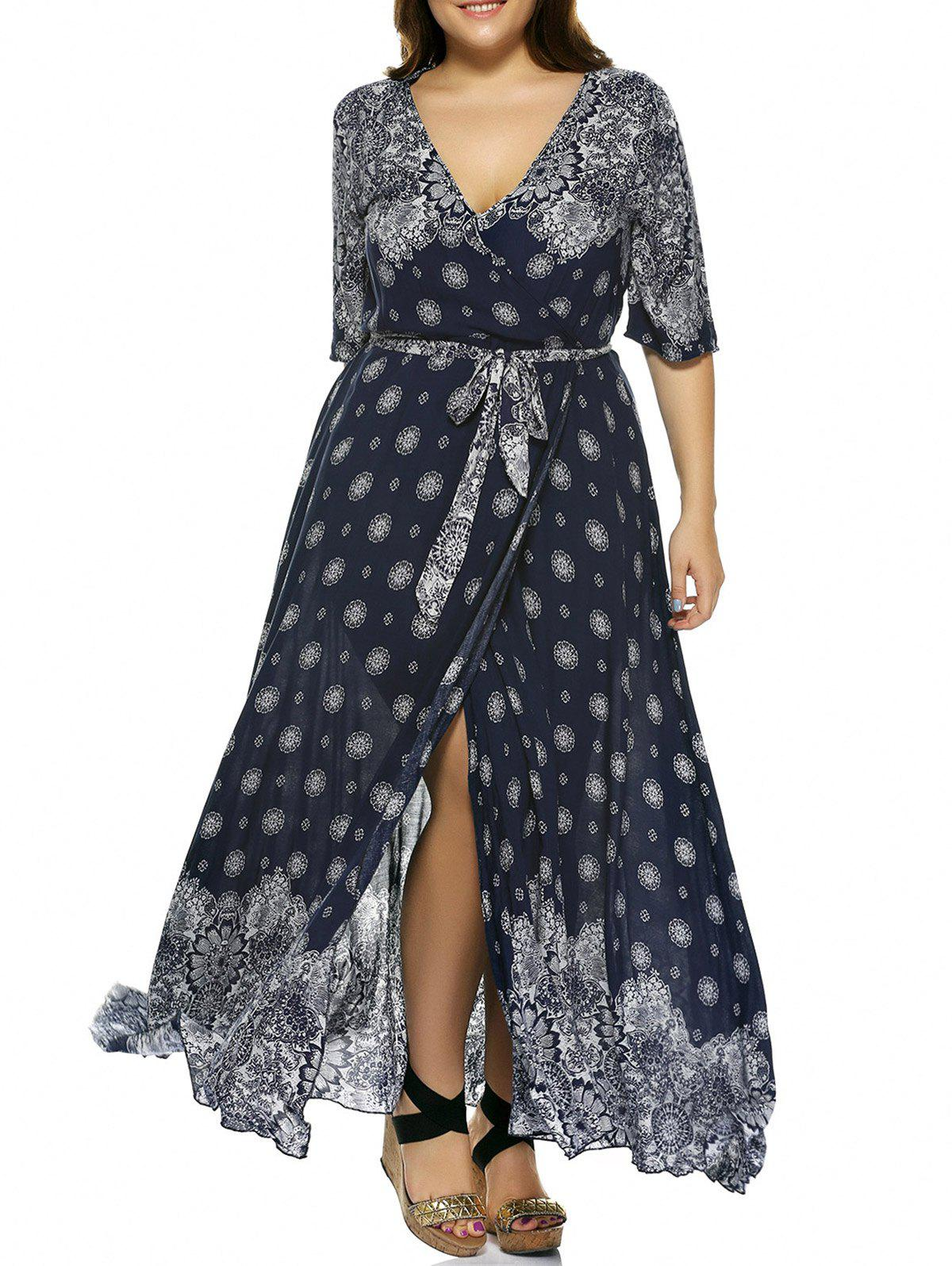 Plus Size Plunge Print Bohemian Wrap Maxi Dress - DEEP BLUE 5XL