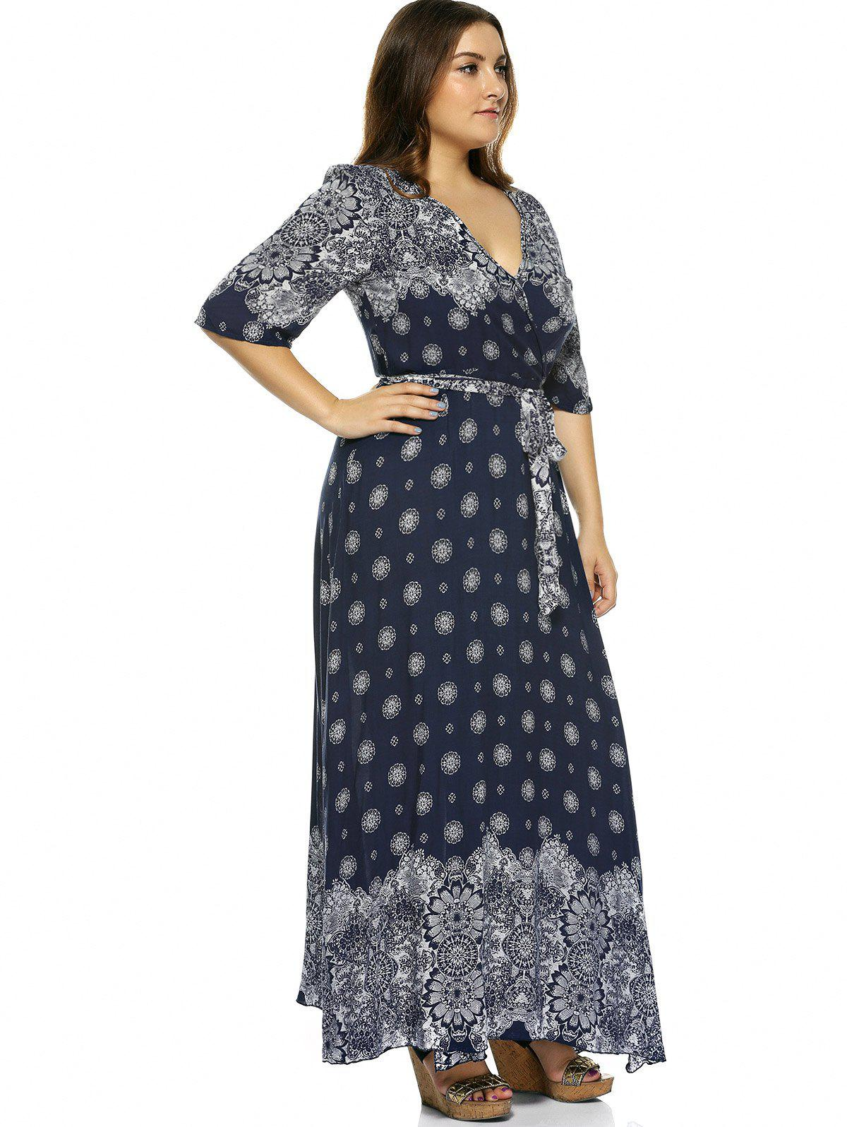2018 Plus Size Boho Print Flowy Beach Wrap Maxi Dress DEEP ...
