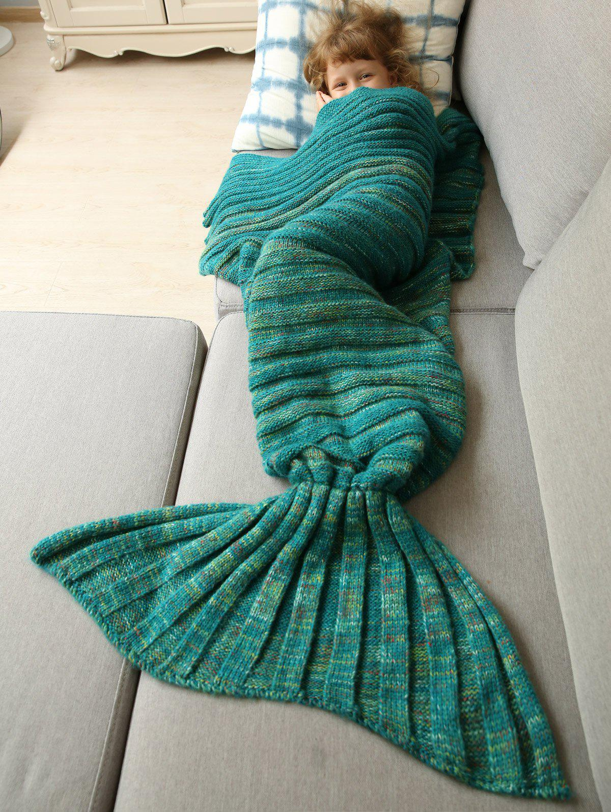 Bonne Qualité chaud kintted Wrap Mermaid Tail Blanket For Kids - Vert S