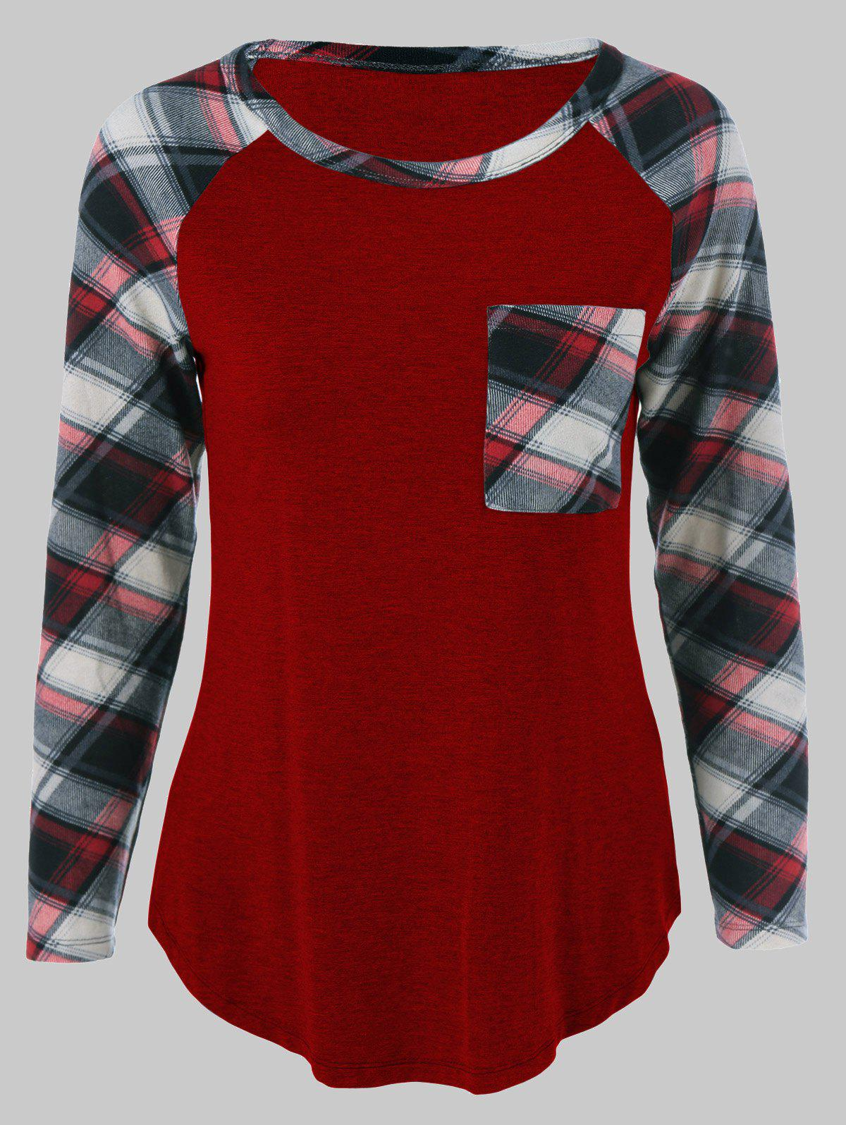 Plus Size One Pocket Plaid Long Sleeve T-Shirt the one plus one