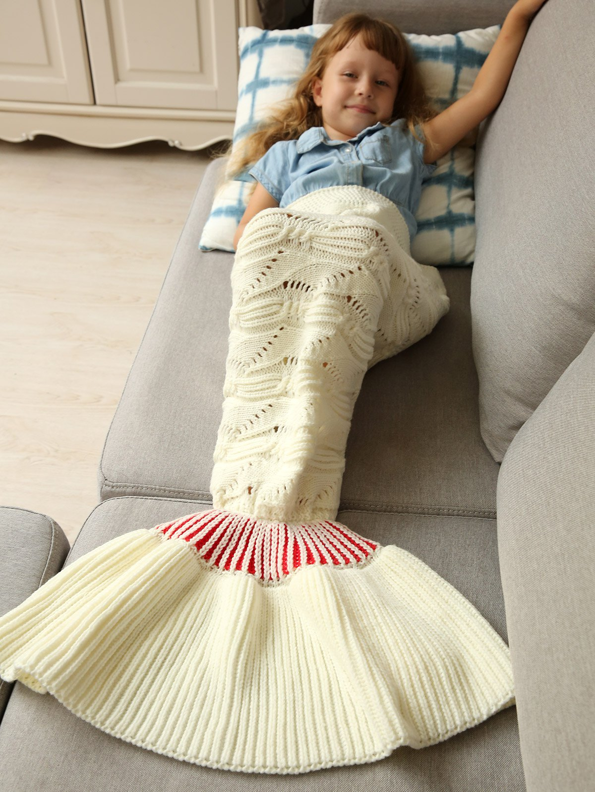 Warm Soft Kintted Mermaid Tail Blanket For Kids - WHITE M