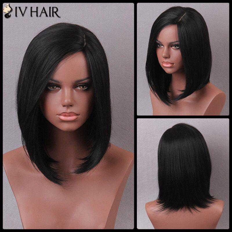 Siv Medium Side Parting Bob Straight Human Hair Wig - JET BLACK