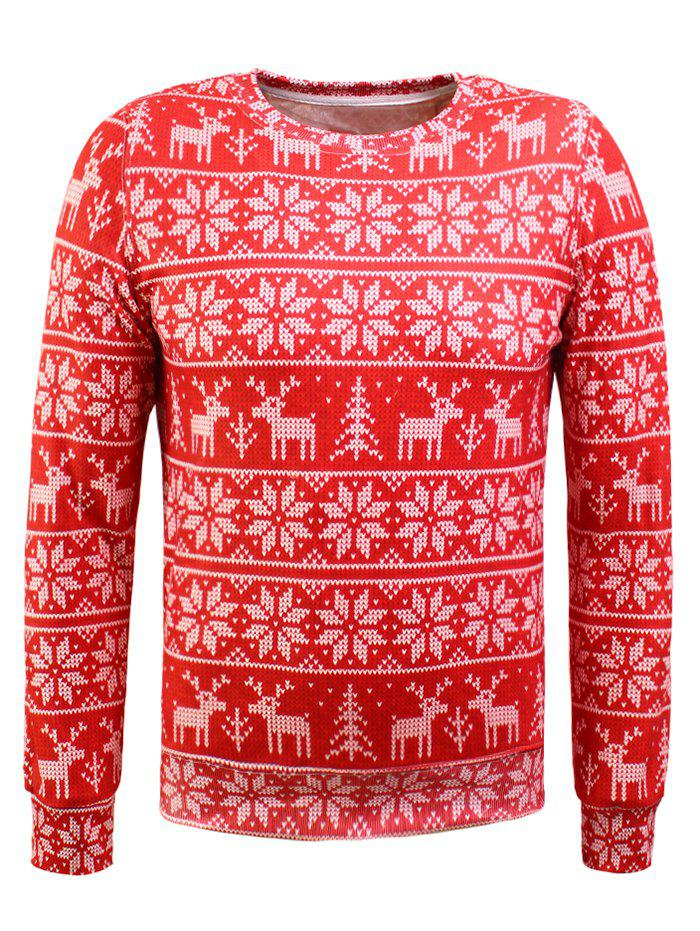 Christmas Snowflake Print Long Sleeve Flocking Sweatshirt топор зубр 20643 06