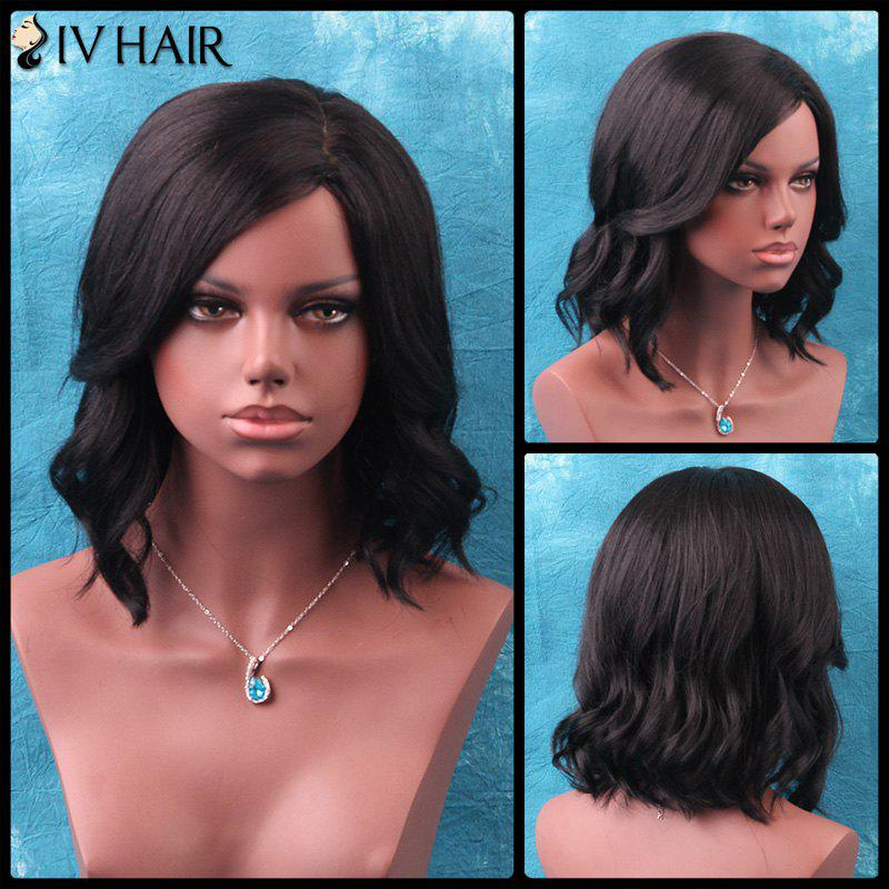 Siv Slightly Curled Medium Side Parting Human Hair WigHair<br><br><br>Color: JET BLACK 01#