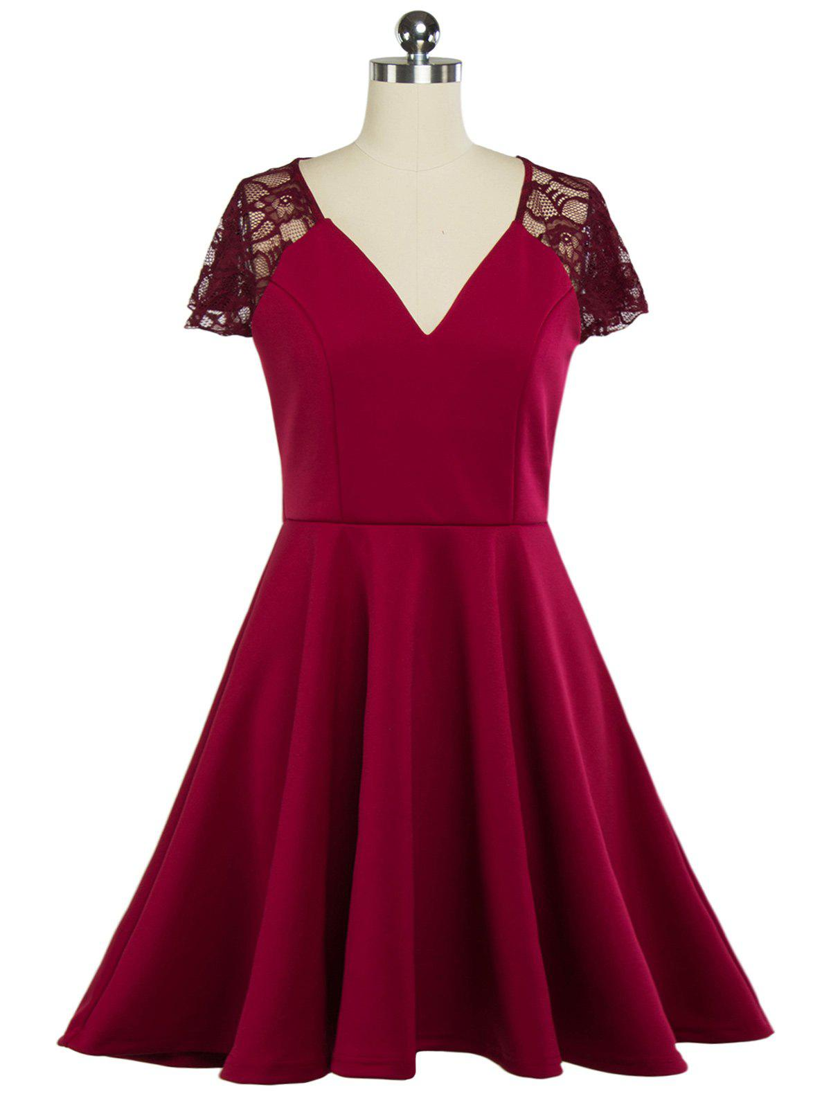 Plunging Neck Lace Panel Swing Skater Dress - WINE RED XL