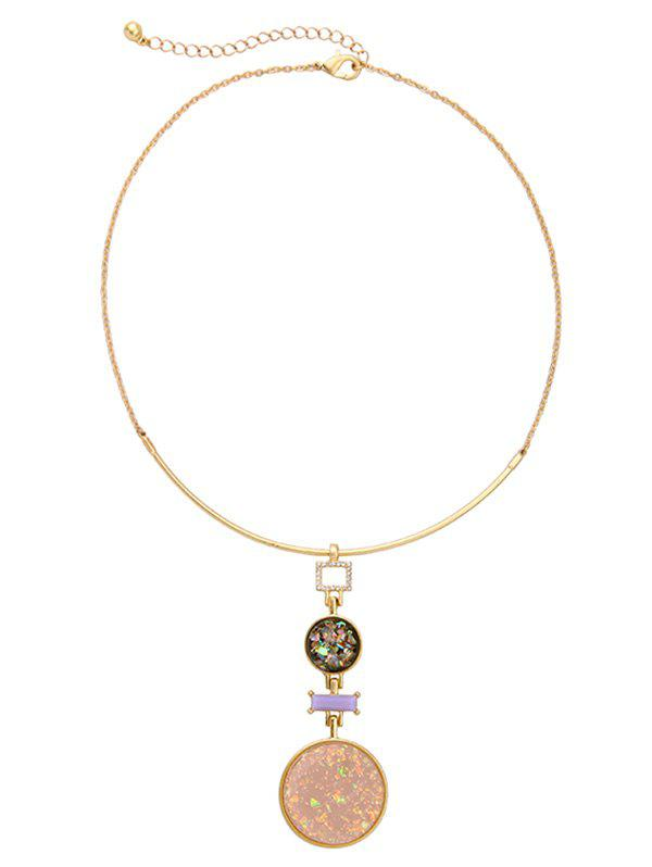 Round Fake Gem Pendant NecklaceJewelry<br><br><br>Color: GOLDEN