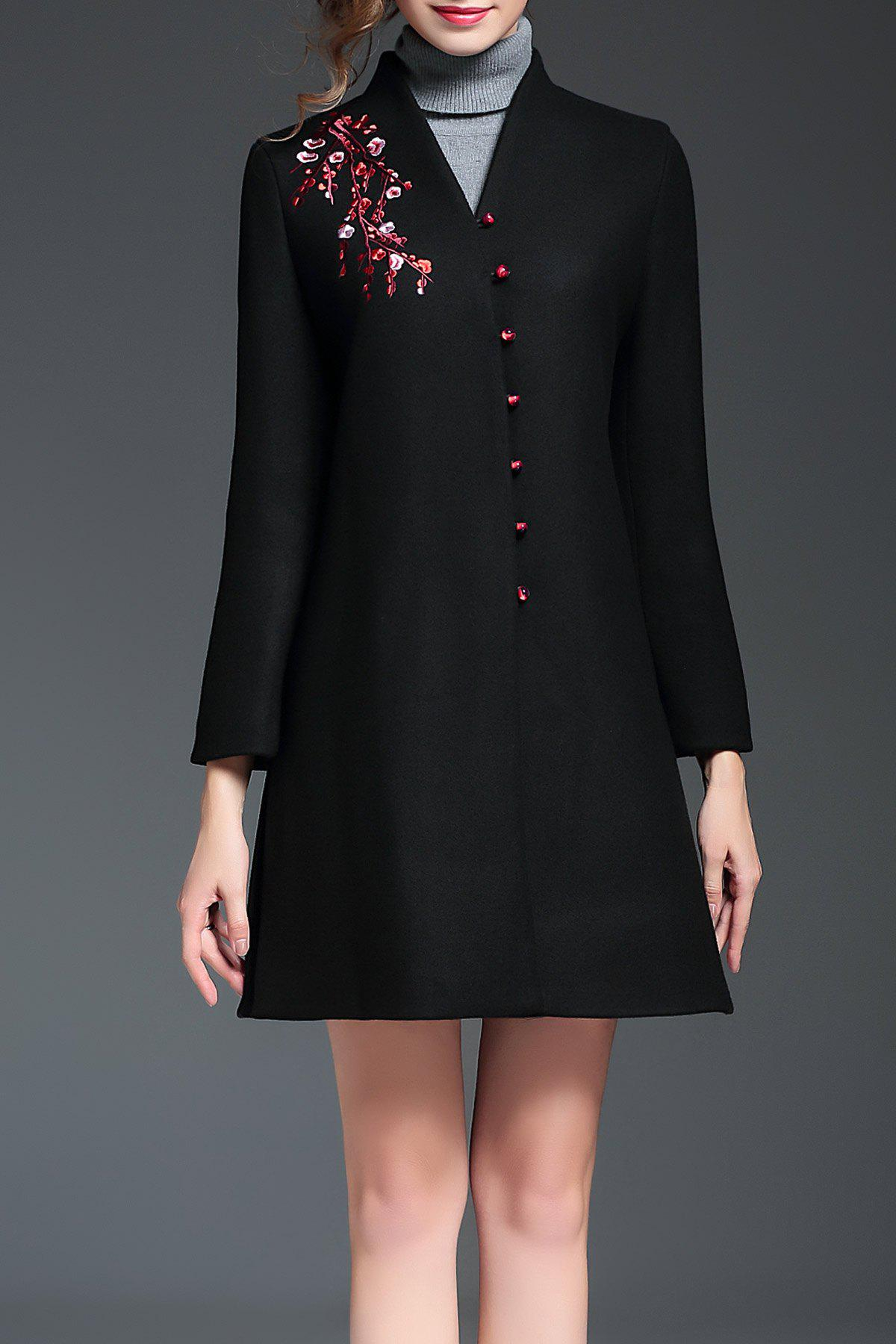 Embroidered V Neck A Line Coat, Black