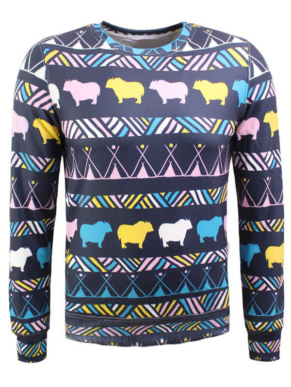 Animal coloré et imprimé géométrique long flocage Sleeve Sweatshirt - multicolore XL