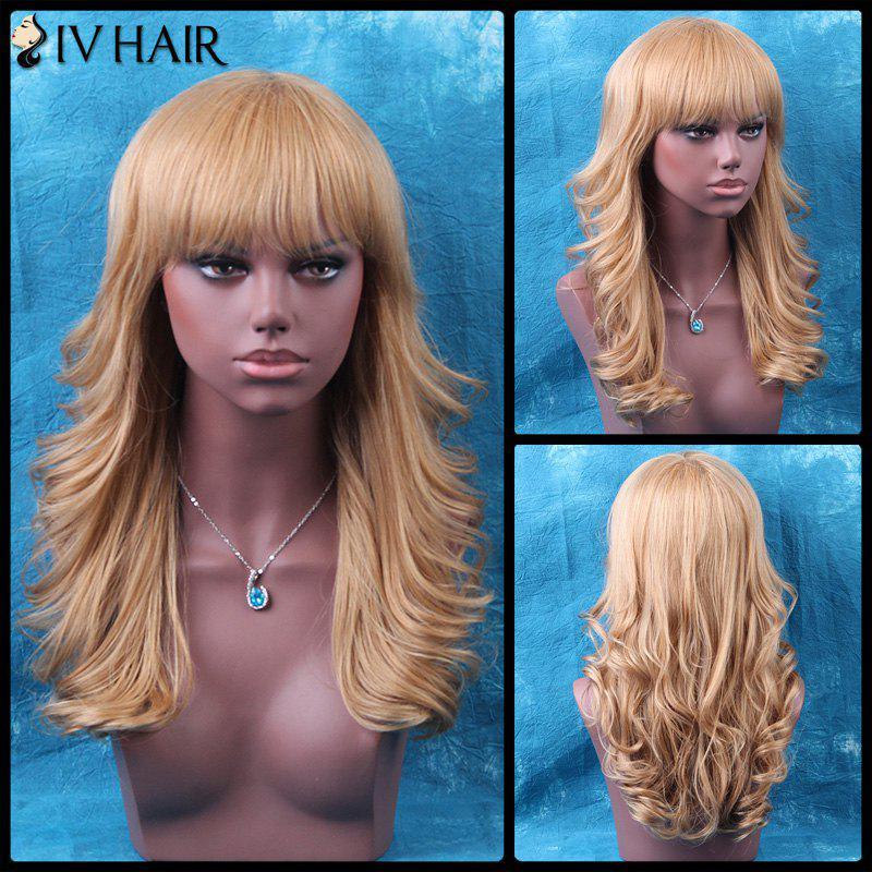 Siv Tail Upwards Long Neat Bang Shaggy Wavy Human Hair Wig - BLONDE