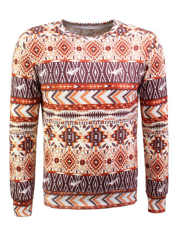 Bohemian Geometric Print Long Sleeve Flocking Sweatshirt - ORANGE L