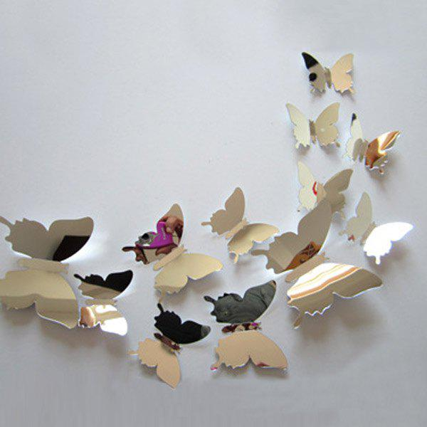 12Pcs DIY 3D Mirror Butterflies Wall Stickers - SILVER