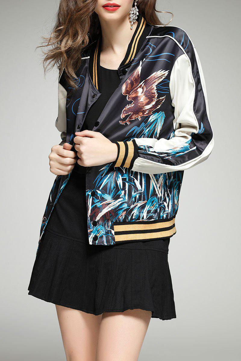 Buttoned Tiger Print Baseball Jacket