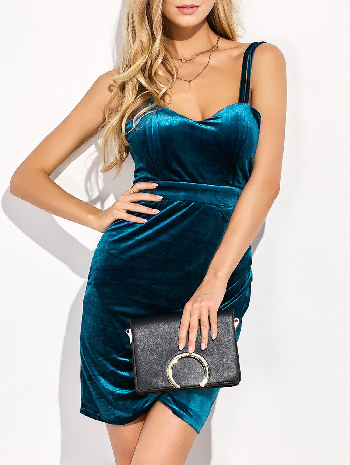 Velvet Backless Short Dress - DEEP BLUE L