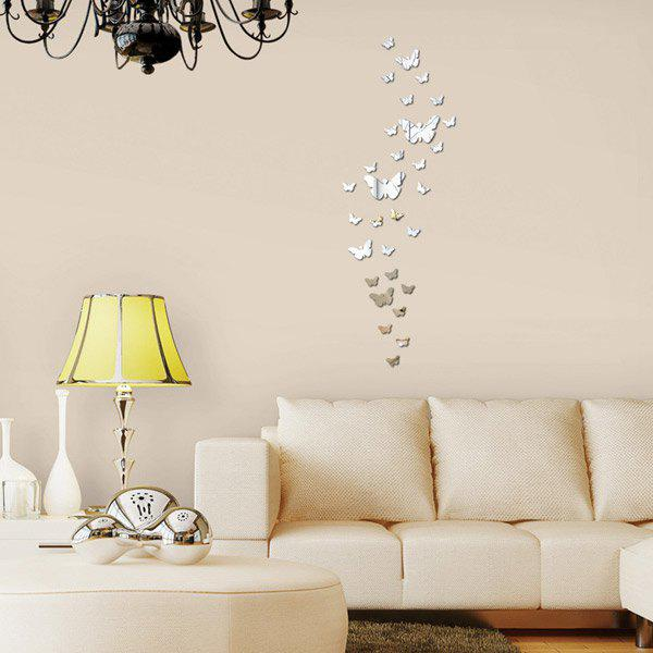 30Pcs DIY 3D Mirror Butterflies Wall Stickers - SILVER