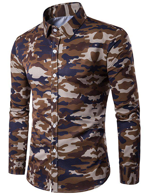 Turndown Collar Camouflage Print Long Sleeve Shirt turndown collar long sleeve eagle graphic print cool shirt